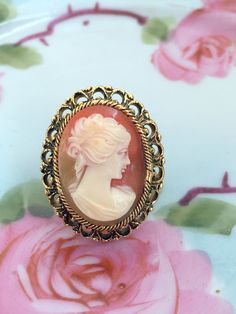 Vintage Victorian Style Cameo Ring Large brass filigree Statement ring Adjustable by Holliezhobbiez on Etsy