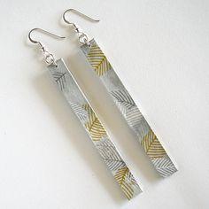 Ouro, Jóias / presentes de prata, cinza e branco papel longo Brincos / papel para ela / primeiro presente de aniversário / brincos longos leves