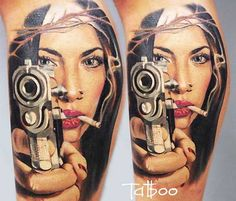 Nice realistic Woman portrait tattoo with Gunby by artist Valentina Ryabova from Russia Home Tattoo, I Tattoo, Arm Tattoos, Tatoos, Sweet Tattoos, Female Portrait, Woman Portrait, First Tattoo, Skin Art