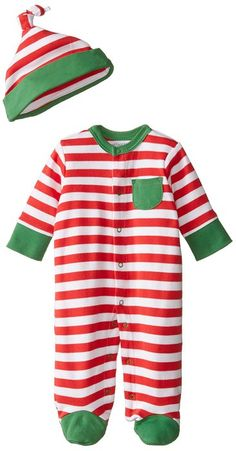 Offspring - Baby Apparel Baby-Boys Newborn Holiday Stripe Footie and Hat, Red Stripe, 3 Months