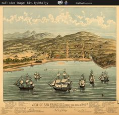 Birdseye #Map: View of San Francisco, #California (1847) #SanFrancisco — http://www.bigmapblog.com/2011/view-of-san-francisco/
