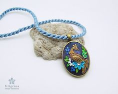 Pendant with PEACOCK BIRD and flowers.  in colors of peacock: blue, green and gold, bronze;  is100% handmade and based on my own design.    Perfect