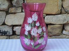 Hand Painted Glass Vase with White Stock Flowers by NaturesPetals Painted Glass Bottles, Purple Wisteria, Vase With Lights, Stock Flower, Wooden Easel, Bottle Painting, Enamel Paint, White Flowers, Hand Painted
