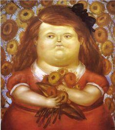Woman with Flowers - Fernando Botero
