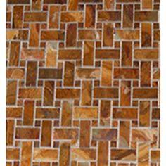 1x2 Multi Brown Onyx Basketweave Polished Mosaic Tile with 5/8 in Multi Brown Dot  #brown_onyx #onyx_mosaic_tiles #onyx_shower_floor