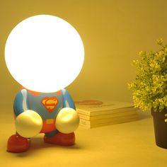 2016 Led Creative Geek Turned Nightlight Superman Batman Cartoon Usb Charging Lamp Free shipping Hot Sale