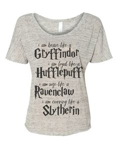 Harry Potter ladies Tee. Gryffindor, Hufflepuff, Ravenclaw, Slytherin
