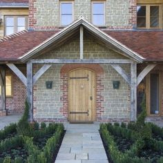 Entrance Porch on Oak Timber Framed New Build Farmhouse in West Sussex