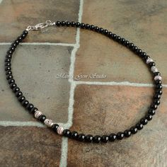 Mens Black Onyx Necklace Handmade Beaded por mamisgemstudio en Etsy