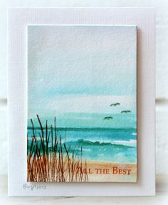 handmade card from Rapport från ett skrivbord: Tränar akvarellmålning... watercolored beach scene ... gorgeous aquas and brown ... mini-painting ... luv it!