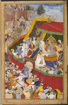 Akbarnama Rai Surjan Hada, the ruler of Ranthambhor in north-west India, submitting to the Mughal emperor Akbar (r.1556–1605) in 1569, after a fiercely fought campaign of immense strategic importance to the expanding Mughal empire. by Mukund & Shankar ca. 1586 - ca. 1589 V&A