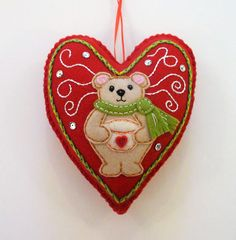 Teddy Bear Ornament Felt Heart Ornament Valentine Ornament