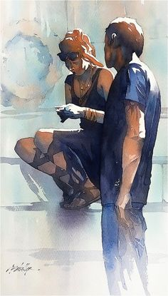 Day Four Hanging Out- Rome Thomas W Schaller. 2016 Painting pairs - or groups - of people is a great way to study the composition of shapes and patterns of light . Thomas W Schaller Watercolor City, Watercolor Sketch, Watercolor Artists, Watercolor Portraits, Watercolor Techniques, Watercolour Painting, Painting & Drawing, Watercolours, Watercolor Landscape