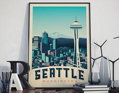 SEATTLE USA Retro Travel Poster City Illustration