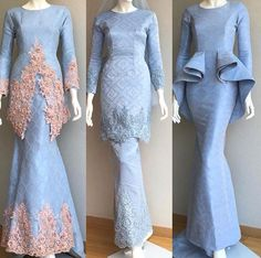 powdered blue wedding dress from Amnibridetobe. Dress Brukat, Hijab Dress Party, Hijab Style Dress, The Dress, Dress Outfits, Muslimah Wedding Dress, Muslim Wedding Dresses, Muslim Dress, Blue Wedding Dresses