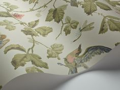The historic wallpaper design Winter Birds was discovered hiding in the bottom of an archive drawer. This wonderful old print reveals garden Scenic Wallpaper, Cole And Son, Designer Wallpaper, Birds, Winter, Living Room, Home Decor, Wallpapers, Bird