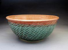 4 Quart Bowl- Green and Shino Glazed