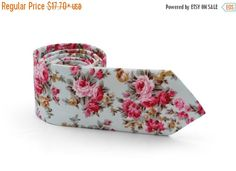 SALE 30% OFF Light Green Gray Floral Tie   by TheBestBoysTies
