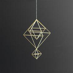 Brass Himmeli no. 6 / Modern Hanging Mobile / Geometric by HRUSKAA, $ 70.00