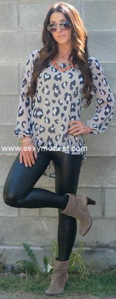 www.sexymodest.com Fall Leopard blouse with leather leggings! We love fall! #sexymodest #fallfashion #fallstyle #leatherleggings #leopard Follow us on instagram @modestshoppin