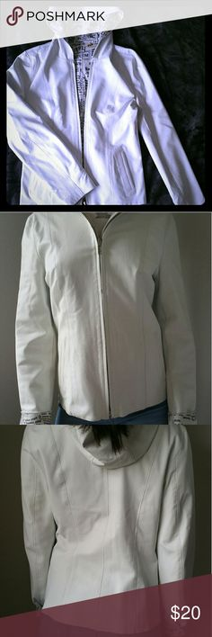 Light blue goat leather jacket Reversible leather jacket. Bought it Morocco. The inside is stained hence the drastic price reduction. A size SMALL. It has pockets on the inside and outside. No tags/brand. Leather is very soft and pliable. Make me an offer! Jackets & Coats Utility Jackets