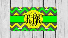Personalized Monogrammed Chevron Green Yellow by TopCraftCase