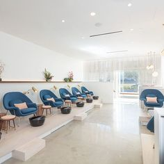 Content furnishes Paloma nail salon in Texas with comfy blue chairs Nail Salon Design, Nail Salon Decor, Beauty Salon Decor, Beauty Salon Design, Beauty Salon Interior, Beauty Salons, Spa Interior, Salon Interior Design, Schönheitssalon Design