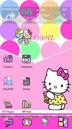 Hello Kitty Go Theme and Android Homescreen Go Theme, Hello Kitty Themes, Android Theme, Cute Themes, Phone Icon, Sanrio Characters, Fb Page, I Wallpaper, Homescreen