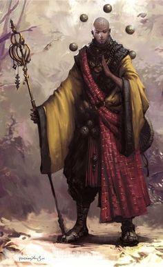 m Monk Robes Staff traveler forest hills snow trail Hava elementi ile banglari havada tutuyor Fantasy Warrior, Fantasy Rpg, Fantasy Artwork, Fantasy World, Character Concept, Character Art, Concept Art, Dnd Characters, Fantasy Characters