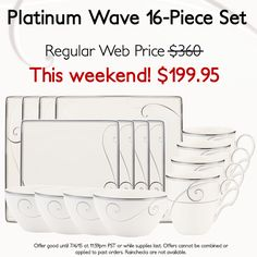 Noritake Platinum Wave 16-Piece Square Set, with a Weekend Value Price of $199.95! http://bit.ly/1UdNdWF #platinumwave #noritake #wedding #registry #sale #dining #dinnerware #tablescapes