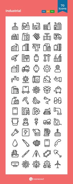 Industrial Icon Pack - 70 Line Icons