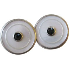 Art Deco Cuff Links Snap Link Vintage 1920s Mother Of Pearl MOP Black Rhinestone Mens Jewelry Was $35 -   Offers accepted, mail to: vanityflairvintage@gmail.com    https://www.rubylane.com/item/676693-JL269/Art-Deco-Cuff-Links-Snap-Link
