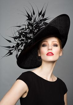 Rachel Trevor Morgan Millinery S/S 2015, R1599 Black fine straw side sweep with black claws