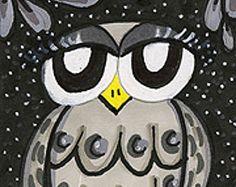 Funny Owl Print, Grey Owl Art, Whimsical Owl, Owl Wall Decor, Kids Wall Art, Nursery Decor, Grey And Black, Little Grey Owl by Paula DiLeo