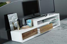 Stolik TV Led biały w wysokim połysku szafka RTV drewiane szuflady 180 cm