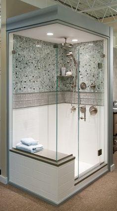 tile shower with glass surrounding | http://homechanneltv.com/ #bathdesign #shower #bathrooms