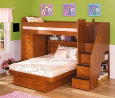 Cute L Shaped Bunk Beds for Children Bedroom: Lavish L Shaped Bunk Beds In Girl Bedroom With White Bed Linen Filled With Colorful Pattern An...