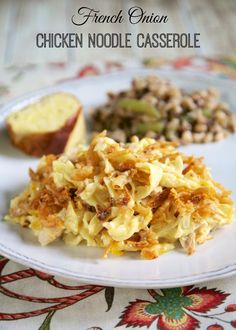 French Onion Chicken Noodle Casserole Recipe - egg noodles, french onion dip, cream of chicken soup, cheese, chicken topped with French fried onions. Chicken Noodle Casserole, Casserole Dishes, Casserole Recipes, Casserole Kitchen, Onion Casserole, Turkey Casserole, Noodle Soup, Pasta Dishes, Food Dishes