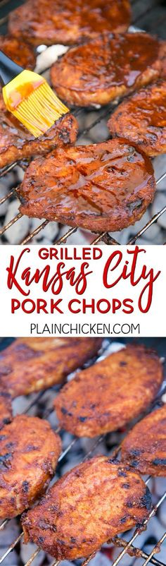 Grilled Kansas City Pork Chops - THE BEST pork chops! Season pork chops with an easy dry rub and refrigerate until ready to grill. Brush with your favorite BBQ sauce before removing from grill! Pork chops, brown sugar, paprika, garlic powder, onion powder, chili powder, salt and pepper. We make these pork chops at least once a month. We LOVE this easy grilling recipe.
