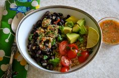 Ordinary Vegan Brown Rice and Beans with Ginger Chile Salsa