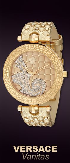 Versace Women's Vanitas #Rose Gold Ion-Plated Stainless Steel Watch with Diamond Accents and Two Interchangeable Leather Bands. Opulent gold-tone watch featuring studded dial with Medusa head, elaborate diamond swirl, and Greca-patterned bezel . Available at #Brandinia www.Brandinia.com