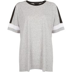 New Look Grey Colour Block Baseball T-Shirt (£9.99) ❤ liked on Polyvore featuring tops, t-shirts, grey, color block t shirt, color block baseball tee, grey tee, colorblock tee and color block tops