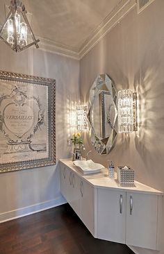 gorgeous- master bath- white, silver & gold. and maybe a black and white bedroom with alternating color accents. Stunning! I love it!