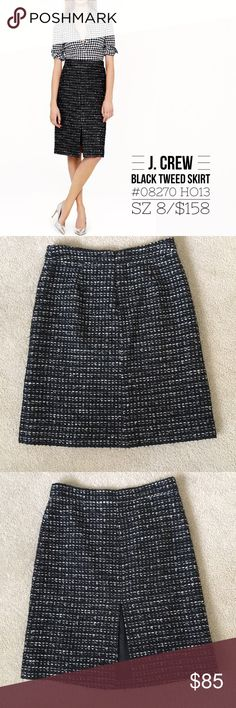 "J. Crew Black Tweed A Line Skirt Pristine preloved condition, beautiful black Tweed skirt from Holiday 2013, perfect for the office or New Years, dress up or down depending on the occasion.  This was sold online only and sold out. A menswear-inspired tweed with a shot of shimmer for the holidays (and all the days after). Acrylic/wool/poly/metallic threads/rayon. Back zip. Lined. Dry clean. Sits above waist. 22 3/4"" long. Falls to knee. Waist measures 16"", back slit measures 9.5"" long. Skirts…"