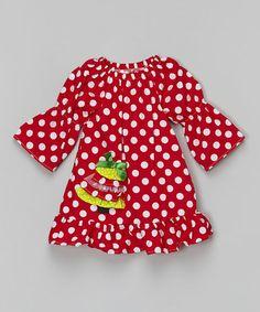 Red Polka Dot Christmas Tree Ruffle Dress - Toddler & Girls #zulily #zulilyfinds