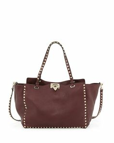Rockstud Medium Grained Tote Bag, Bordeaux by Valentino