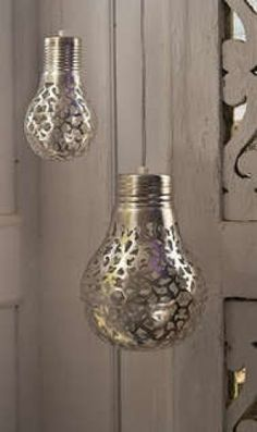 These Metallic Lights are Easily Made Using a Doily #lighting #lightfixture