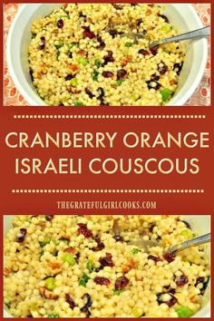 You'l love this easy to make, delicious cranberry orange Israeli couscous and pecan salad, topped with a wonderful homemade orange herb vinaigrette! via @gratefuljb #couscoussalad