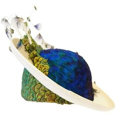 Preowned 1950s Jack Mcconnell Peacock Feather Rhinestone Hat (€515) ❤ liked on Polyvore featuring accessories, hats, beige, rhinestone hats, jack mcconnell, feather hat, peacock hat and couture hats