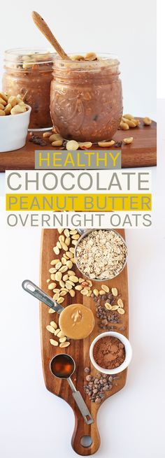 Start your morning off right with these healthy vegan and gluten-free chocolate peanut butter overnight oats; a quick and hearty grab and go breakfast!